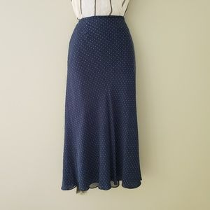 Fit and Flare Silk Skirt with Micro Polka Dots